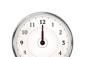 Realistic clock face showing 12-00