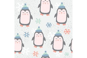 Childish seamless pattern with cute penguin. Creative texture for fabric