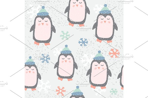 Childish Seamless Pattern With Cute Penguin Creative Texture For Fabric