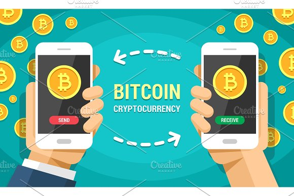 Two Phones In Hands With Bitcoin