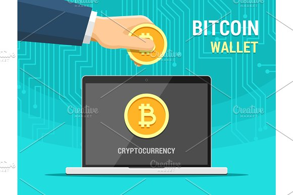 Hand Holding Bitcoin And Laptop