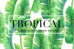 Tropical. Watercolor patterns.