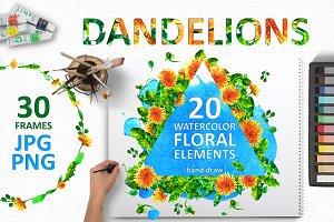 Watercolor dandelion set
