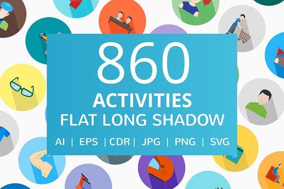 860 Activities Flat Long Shadow Icon