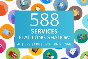 588 Services Flat Long Shadow Icons