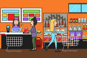 People in supermarket interior desig