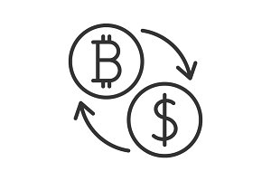 Bitcoin to dollar exchange icon