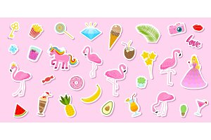 Set of girls fashion cute patches, fun stickers, badges, pins and stickers. Collection different elements. Princess and flamingos, unicorn, milkshakes, candy for notebook. Vector trendy illustration.