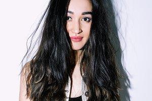 brunette model with long hair