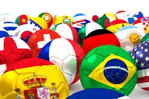 Collection Of Soccer Balls With Flags 3D Render