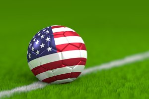 Soccer Ball With American Flag 3D Render