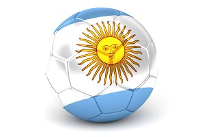 Soccer Ball With Argentinian Flag 3D Render