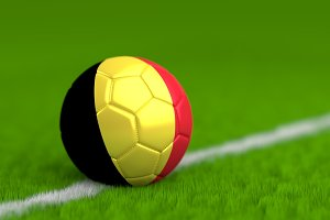 Soccer Ball With Belgian Flag 3D Render