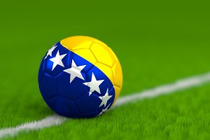 Soccer Ball With Bosnian Flag 3D Render