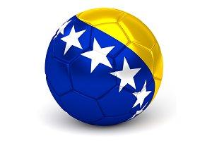 Soccer Ball With Bosnian Herzegovinian Flag 3D Render