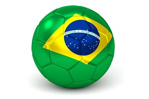 Soccer Ball With Brazilian Flag 3D Render