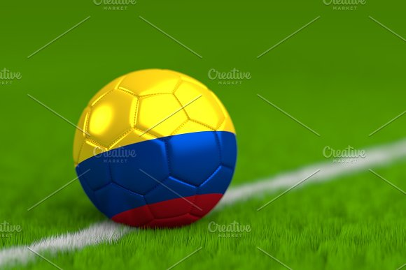 Soccer Ball With Colombian Flag 3D Render