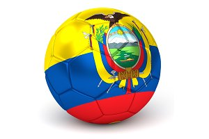 Soccer Ball With Ecuadorian Flag 3D Render