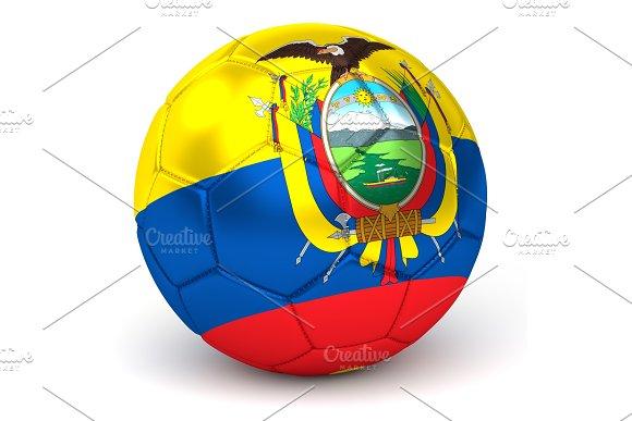 Soccer Ball With Ecuadorian Flag 3D Render