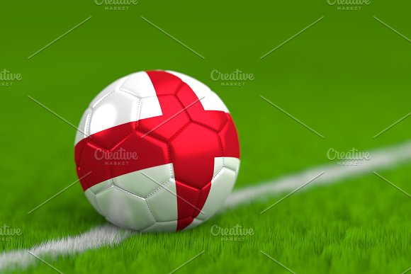 Soccer Ball With English Flag 3D Render