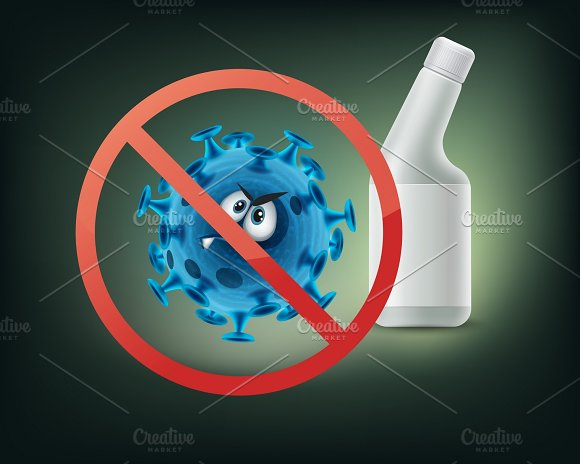 Stop Sign On Bacterium Character