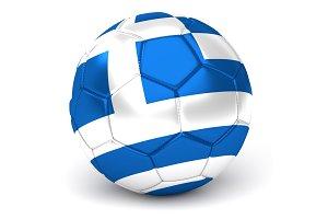 Soccer Ball With Greek Flag 3D Render