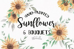 Sunflower Watercolor Floral Bouquets