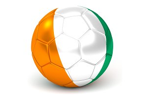 Soccer Ball With Ivorian Flag 3D Render