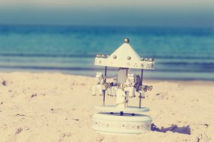 Carousel, Sea, Beach, Musical Box