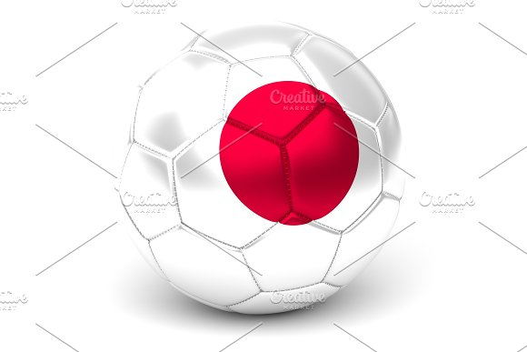 Soccer Ball With Japanese Flag 3D Render