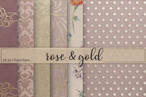 Gold & Rose Textures Digital Paper
