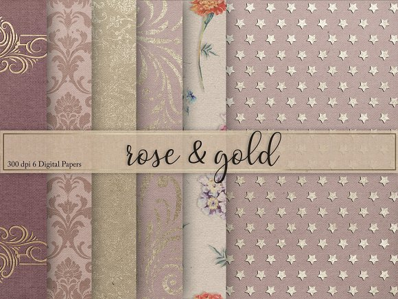 Gold Rose Textures Digital Paper