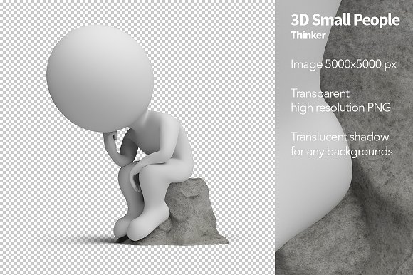 3D Small People Thinker