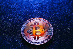 One coin with bitcoin logo on a blue