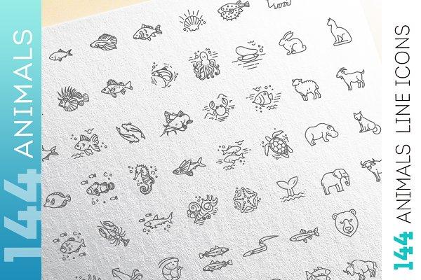 Line animals concepts, Icons set