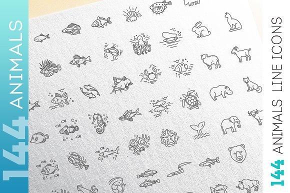 Line Animals Consepts Icons Set