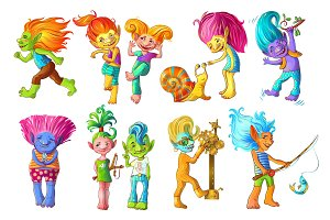 Cartoon Funny Troll Characters Set