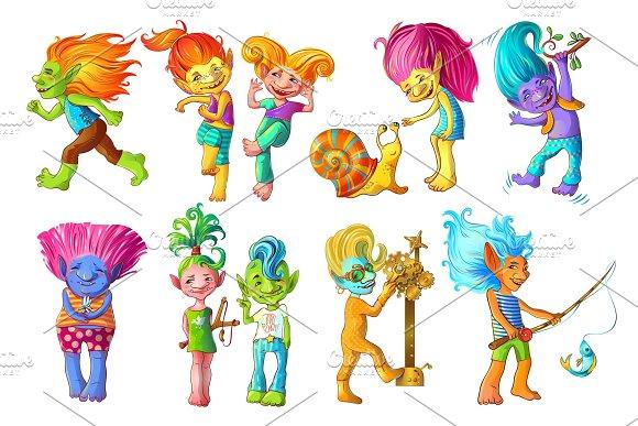 Cartoon Funny Troll Characters Set