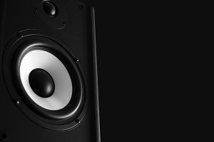 Audio speaker black background