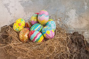 Colorful easter egg in nest