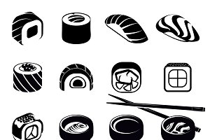 Monochrome Japanese Food Icons Set