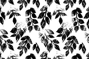 Worn black and white leaves pattern