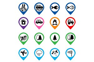 Offroad event and camping icons set
