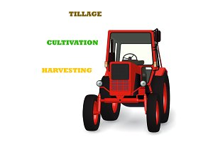 Tractor 3D illustration