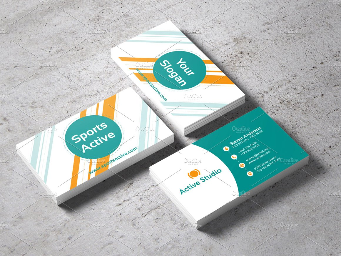 Sports active business card business card templates creative market colourmoves Image collections