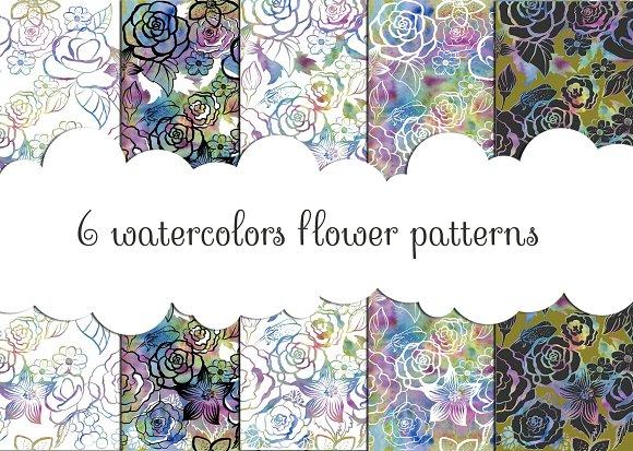 6 Watercolors Flower Patterns