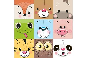 Set of Cute animals faces