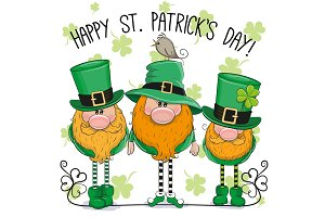 St Patricks greeting card with three leprechauns