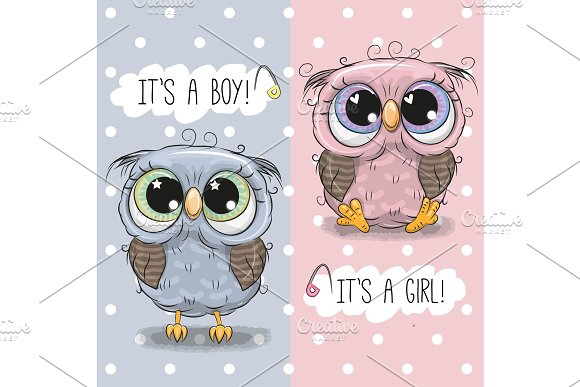Baby Shower Greeting Card With Cute Owls