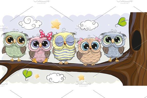 Cute Owls Is Sitting On A Brunch